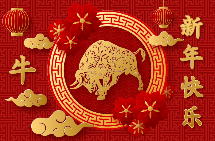 chinese-new-year-2021-year-of-the-ox-paper-cut-style-design-vector